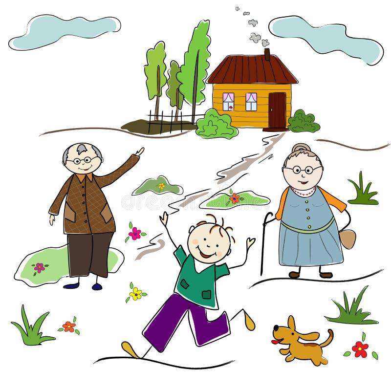 Semestra besöka morföräldrar i byn Sommar glädje vektor illustrationer