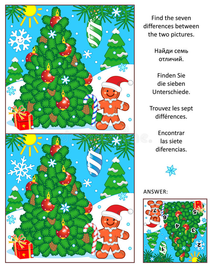 Semestra finner skillnadbildgåtan med julträdet stock illustrationer
