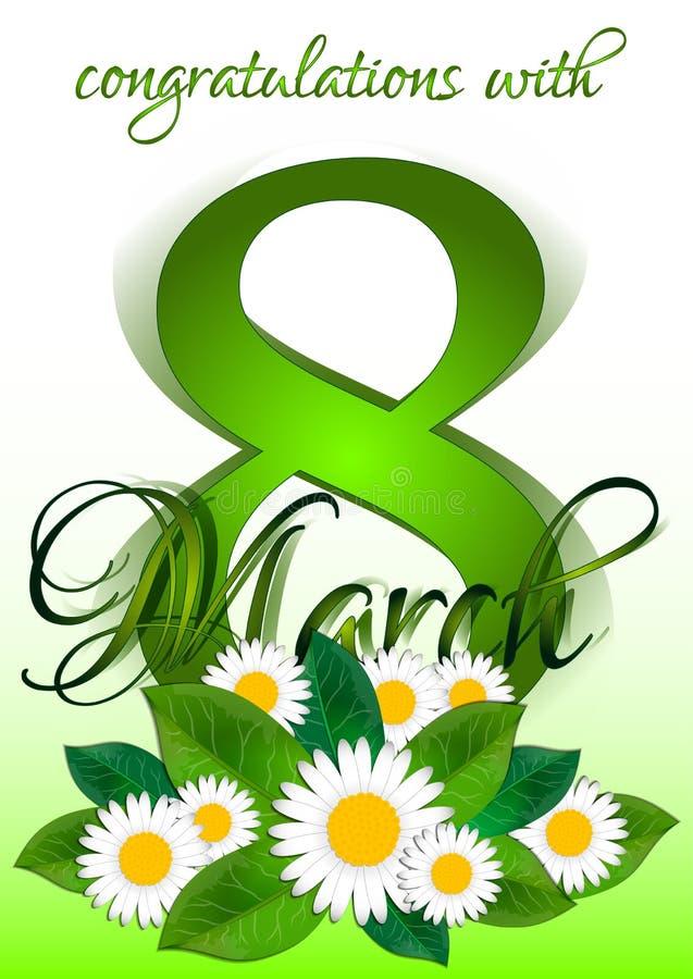 Semestra hälsningkortet med buketten av tusenskönor på internationella kvinnors dag Mars 8 royaltyfri illustrationer