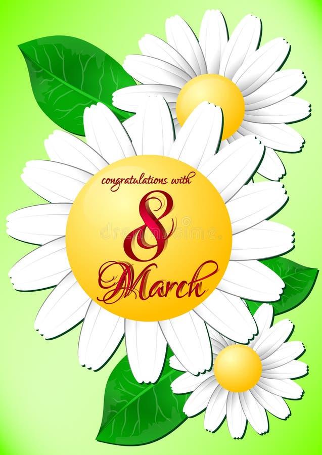 Semestra hälsningkortet med tusenskönor på internationella kvinnors dag Mars 8 vektor illustrationer