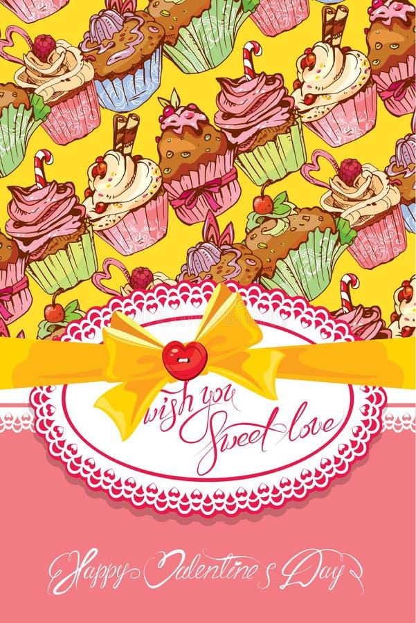 Semestra kortet med dekorerad söt muffinbakgrund, snöra åt fram vektor illustrationer