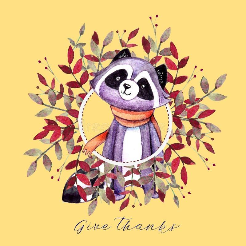 Semestra kortet med ekorren, höstfärgsidor, champinjoner och ` för tacksägelse för text` lycklig för tacksägelsedag vektor illustrationer