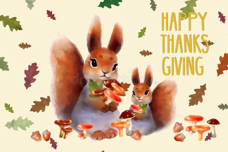 Semestra kortet med ekorren, höstfärgsidor, champinjoner och ` för tacksägelse för text` lycklig för tacksägelsedag royaltyfri illustrationer