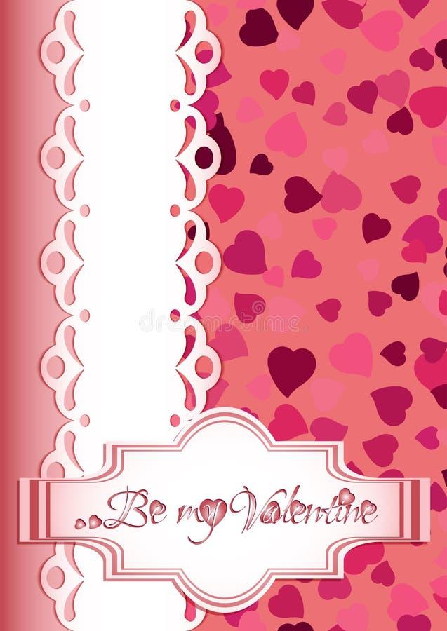 Semestra vykortet med spridning av hjärtor och hälsningen för valentins dag stock illustrationer