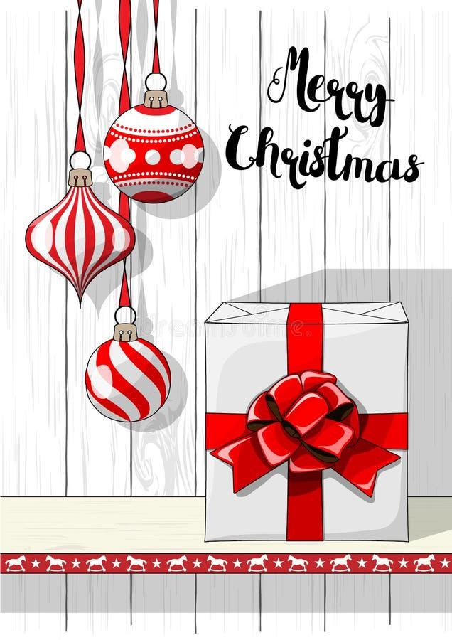 Semestrar bevekelsegrund, julpynt och den stora vita gåvaasken med det röda bandet, illustration stock illustrationer