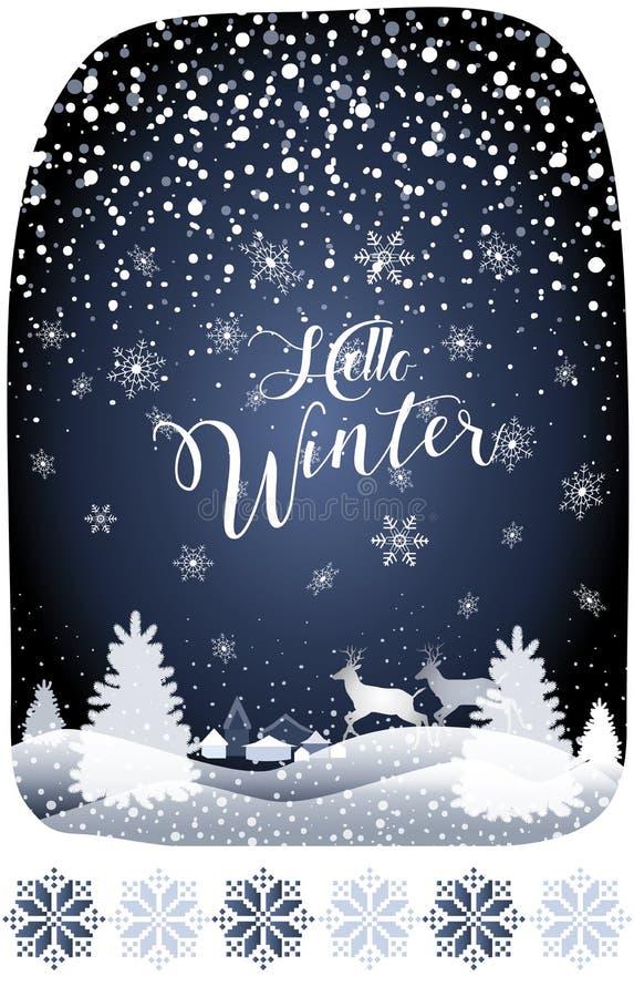 Semestrar den Hello vintersagan 2019 jul snöig Forest Landscape för det lyckliga nya året med renen stock illustrationer