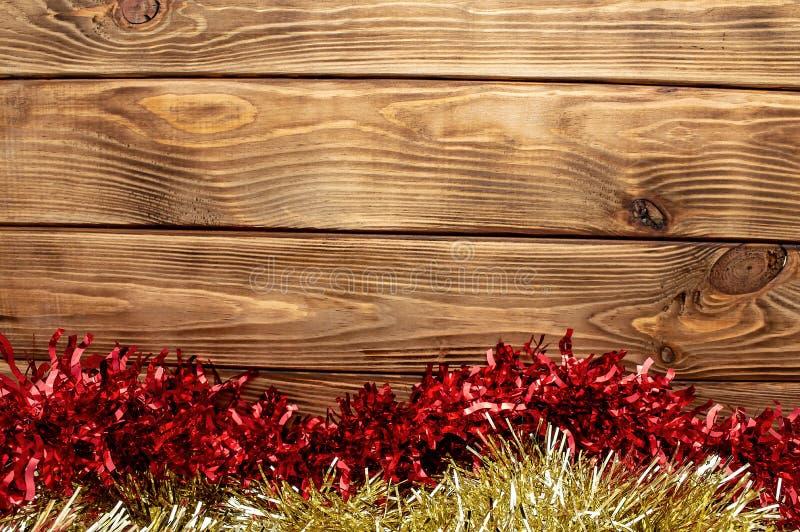 Semestrar det nya året för träbakgrund skinande glitter arkivfoton