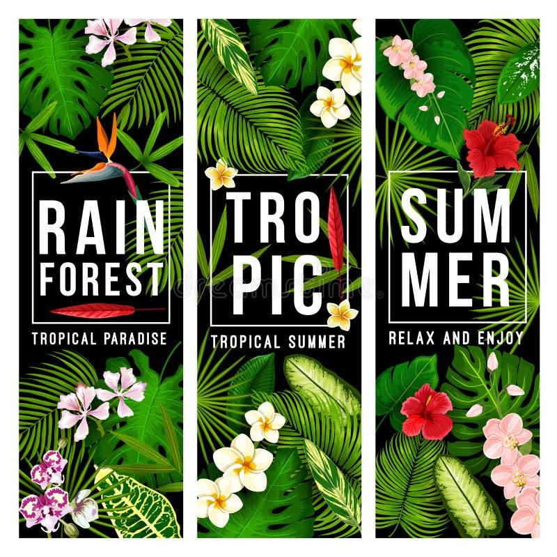 Semestrar det tropiska paradiset för sommar banret med gömma i handflatan royaltyfri illustrationer