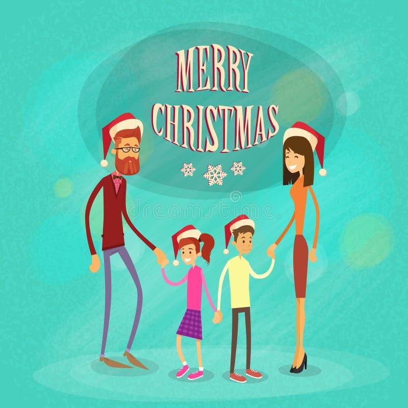 Semestrar glad jul för familj lyckligt nytt år royaltyfri illustrationer