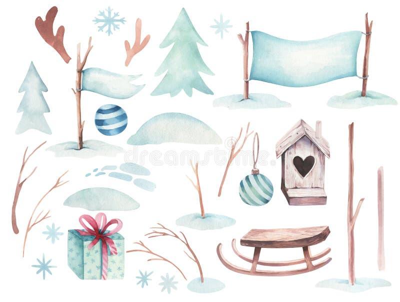 Semestrar illustrationen för glad jul för vattenfärgen med snögubben, gulliga djur hjortar, kanin Julberömkort vektor illustrationer