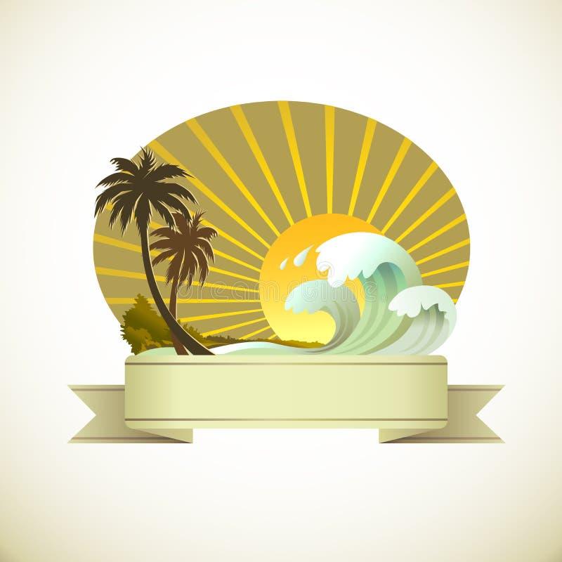 semestrar islan den tropiska sandsunen vektor illustrationer