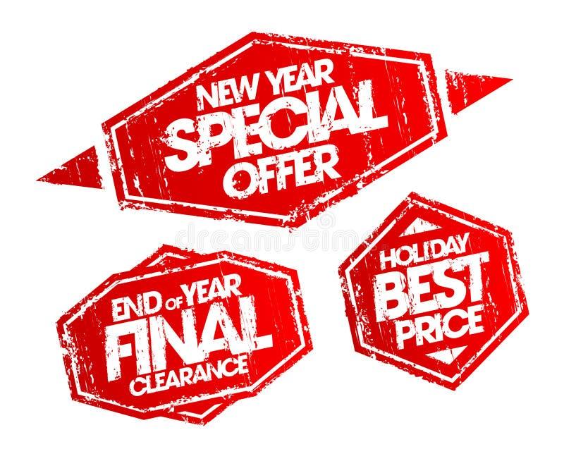 Semestrar stämpeln för det speciala erbjudandet för det nya året, slut av den sista rensningsstämpeln för året, den bästa prisstä stock illustrationer