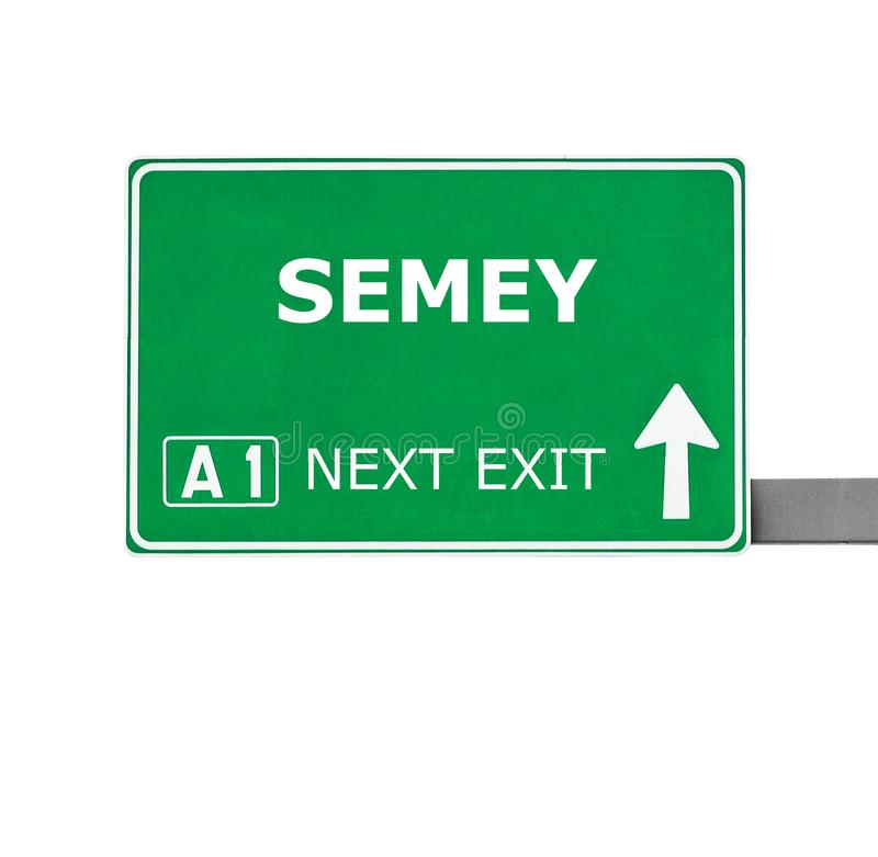 SEMEY road sign isolated on white stock photography