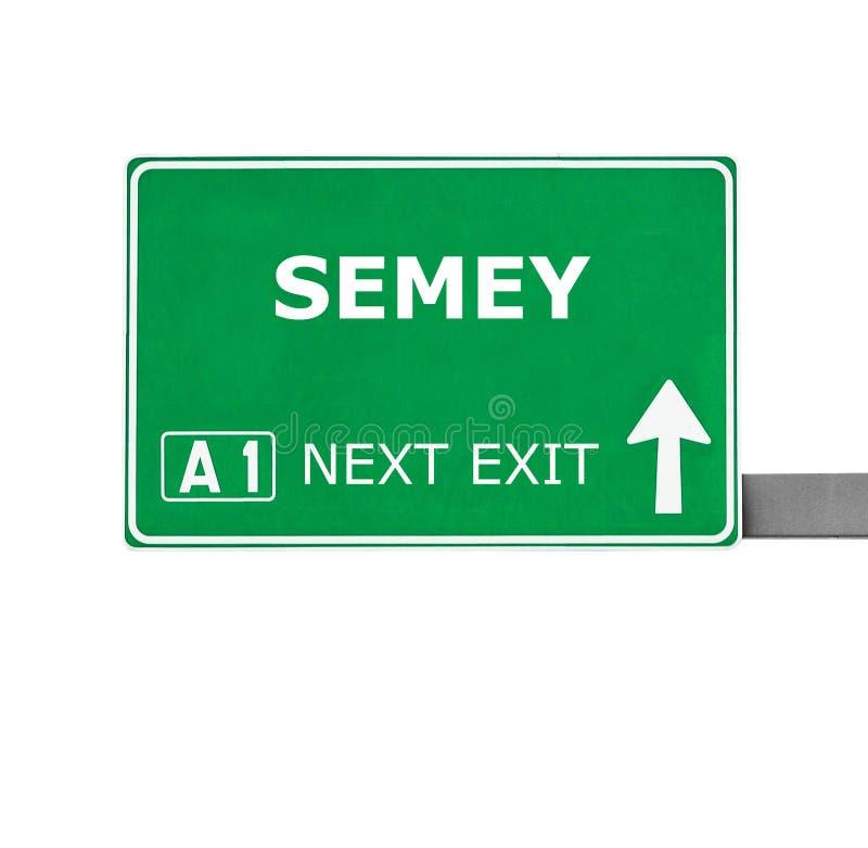 SEMEY-vägmärke som isoleras på vit arkivbild