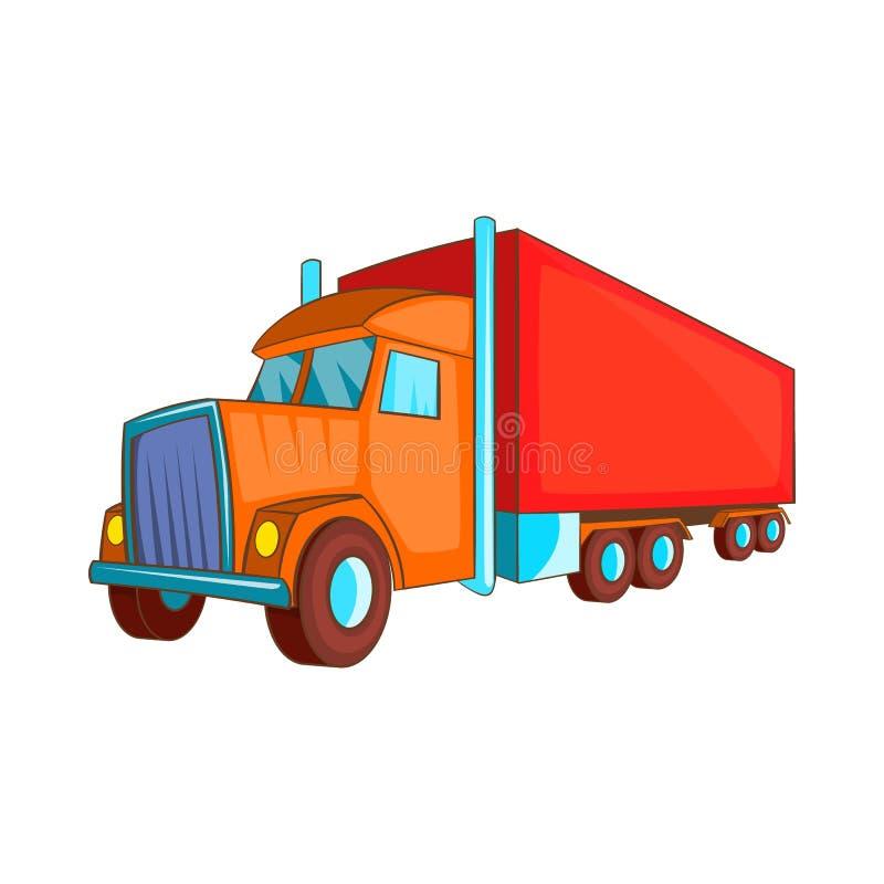 Semi значок грузовика, стиль шаржа иллюстрация вектора