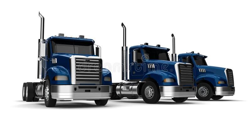 Semi парк грузовых автомобилей иллюстрация вектора