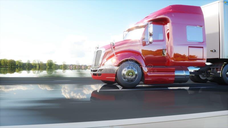 Semi трейлер, тележка на дороге, шоссе Переходы, концепция снабжения перевод 3d бесплатная иллюстрация