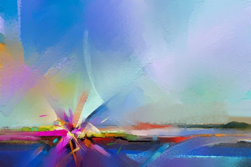 Semi abstract beeld van landschap het schilderen achtergrond De kunstschilderijen van de olie moderne eigentijdse muur vector illustratie