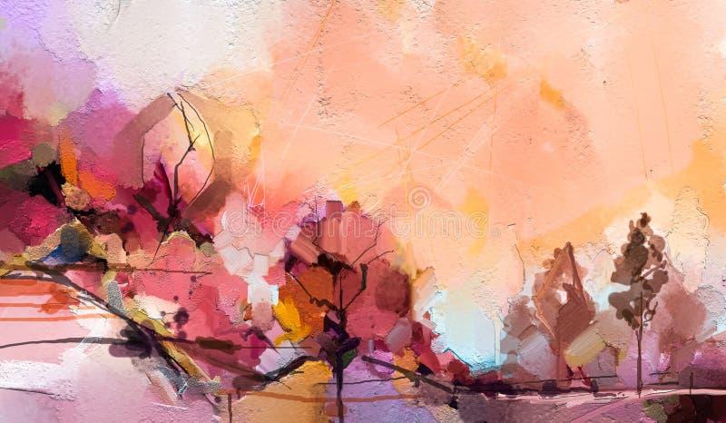 Semi abstracte boom, gebied, weide De aard van het abstractielandschap, eigentijdse kunst voor achtergrond stock illustratie