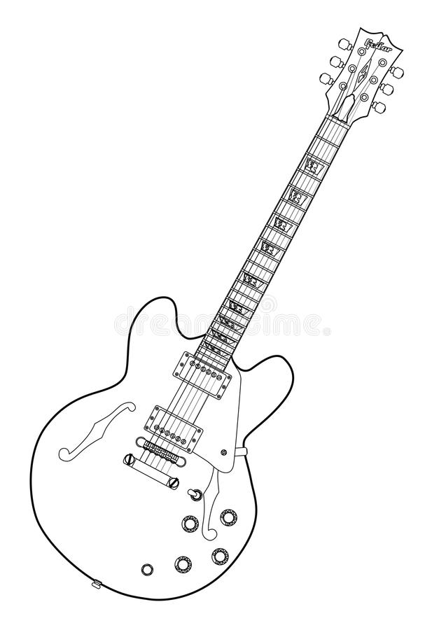 Semi Acoustic Line Drawing Stock Vector Illustration Of Graphics