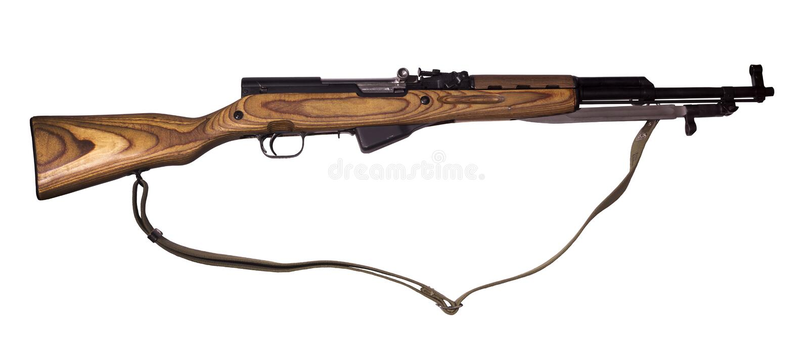 Semi-automatic carbine on white background. Semi-automatic carbine with bayonet in its closed position and with canvas belt, isolated royalty free stock photos