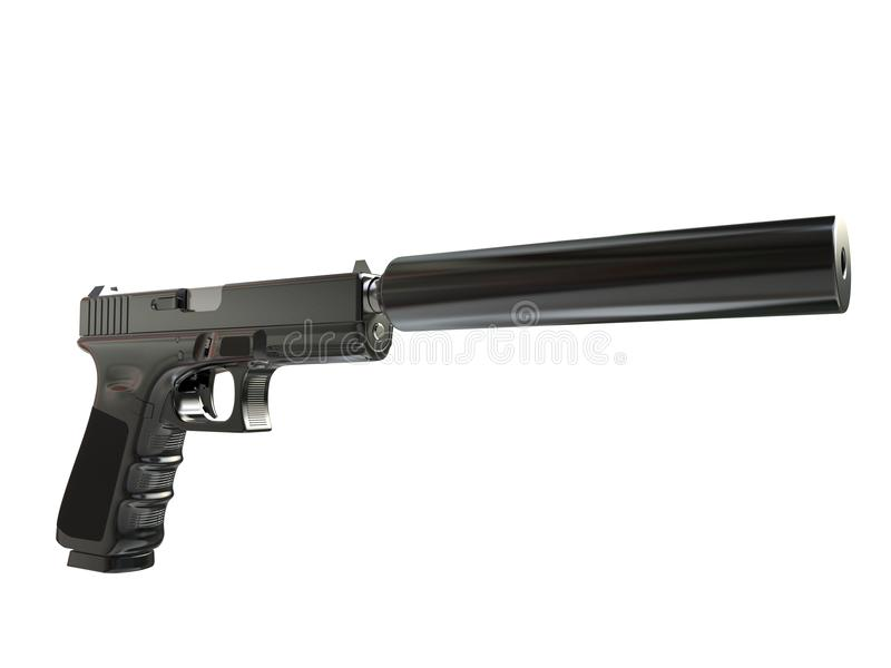 Semi - automatic modern tactical handgun with silencer stock illustration