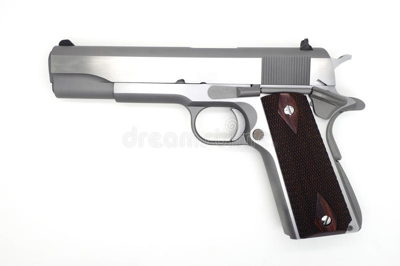 Semi-Autometic kanon op witte achtergrond stock foto's