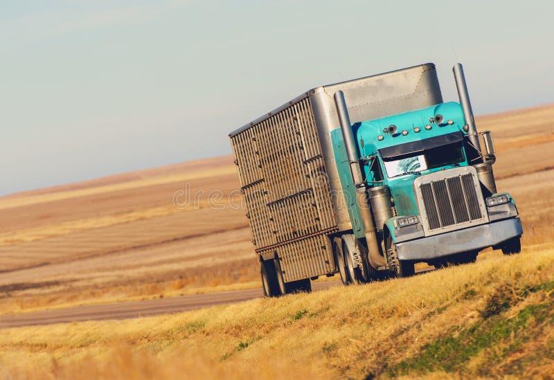 Semi camión en el camino de la pradera imagen de archivo libre de regalías