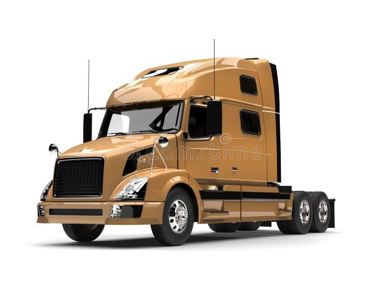 Semi caminhão de reboque dourado metálico ilustração royalty free