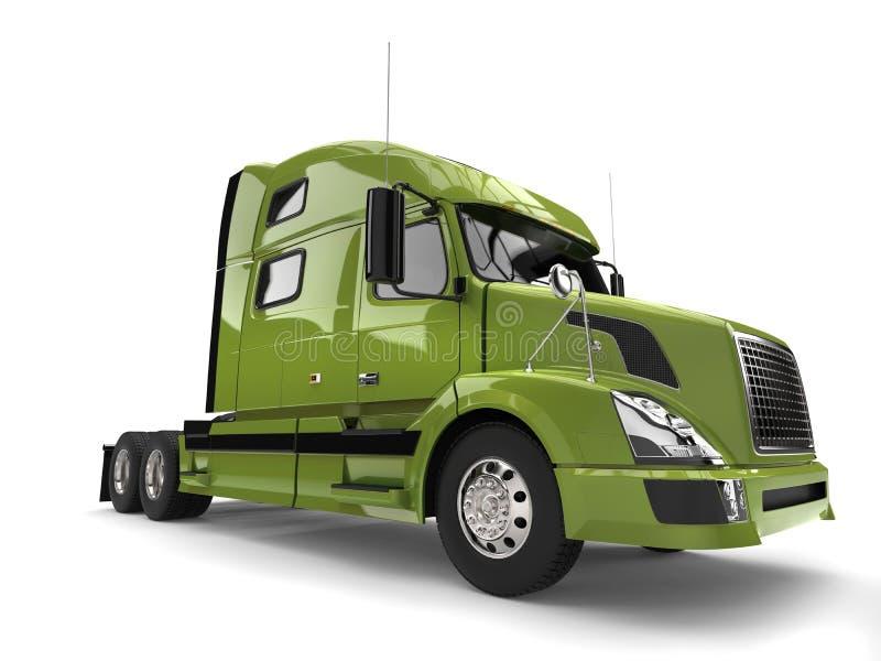 Semi caminhão de reboque moderno verde-claro ilustração royalty free