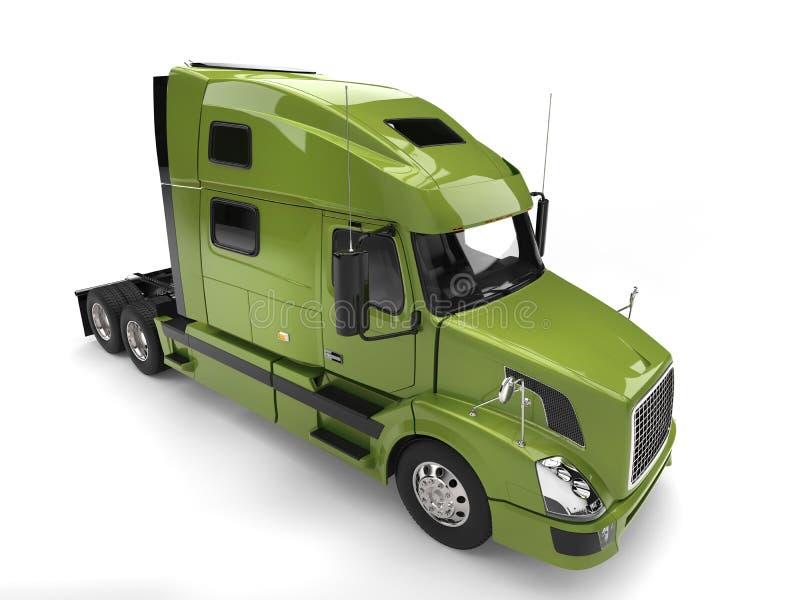 Semi caminhão de reboque moderno verde-claro - parte superior abaixo da vista ilustração stock