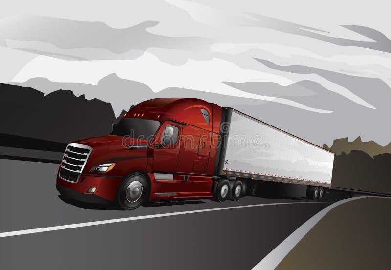 Semi caminhão novo com reboque de trator noun ilustração stock