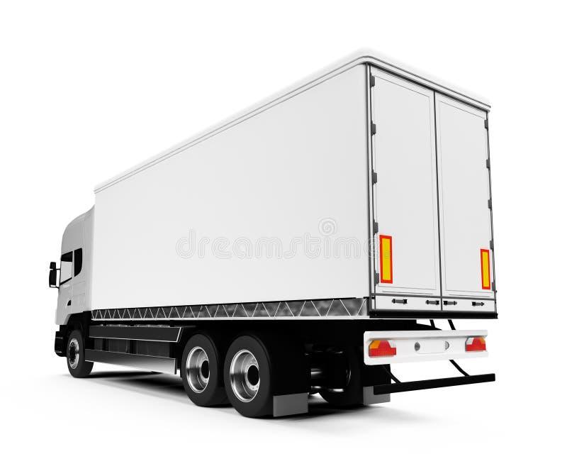 Semi caminhão sobre o branco ilustração stock