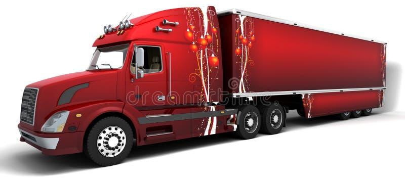 Semi-caminhões do americano do Natal ilustração stock