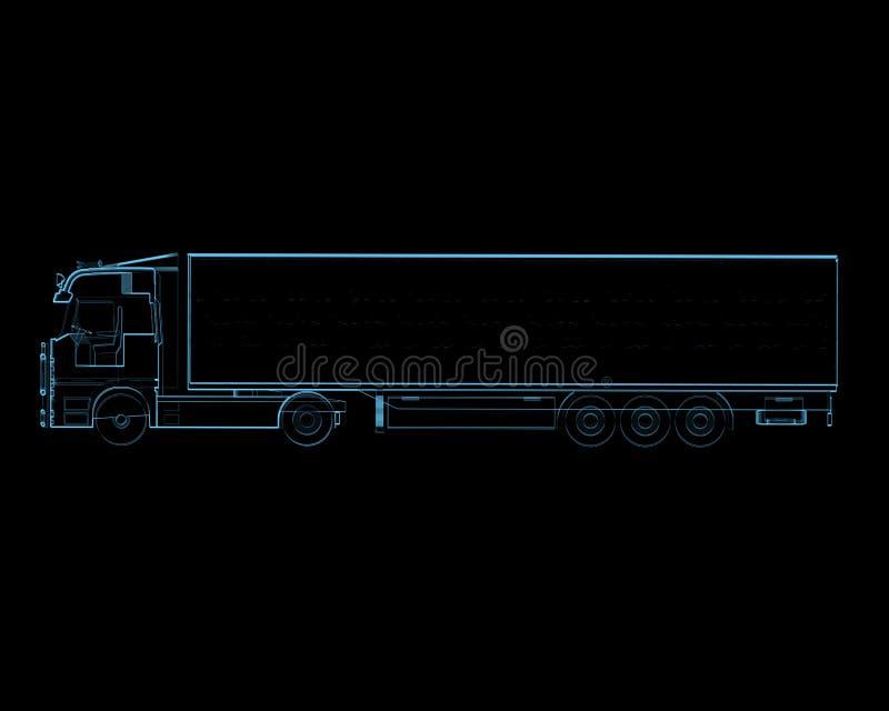 Semi camion avec la remorque (transparents bleus de rayon X 3D) illustration stock