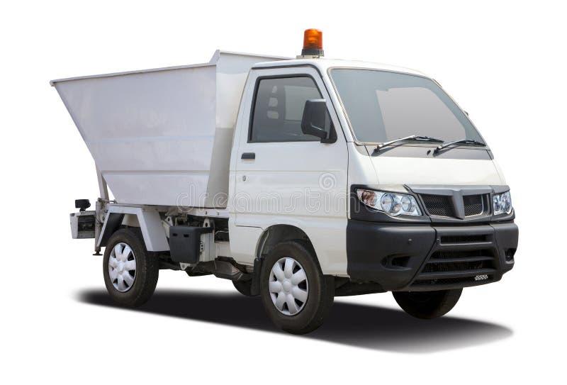 Semi-camion bianco di Piaggio isolato su bianco fotografia stock libera da diritti