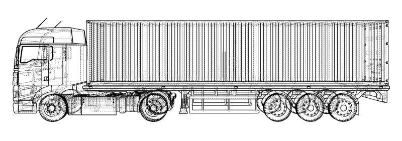semi-camion commerciale Ciao-dettagliato su bianco Illustrazione astratta Cavo-struttura Formato EPS10 Vettore creato di 3d illustrazione vettoriale