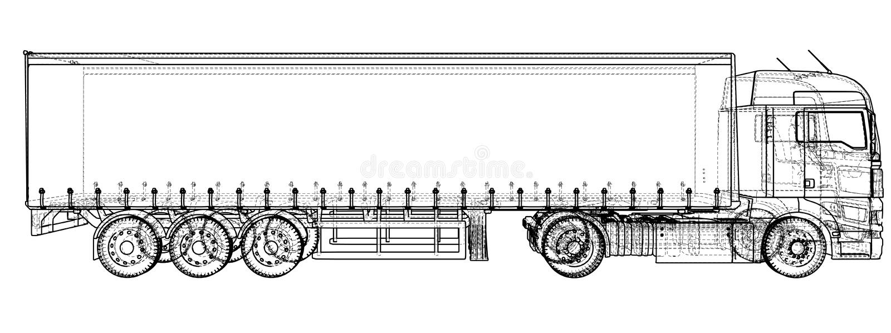 semi-camion commerciale Ciao-dettagliato su bianco Illustrazione astratta Cavo-struttura Formato EPS10 Vettore creato di 3d illustrazione di stock