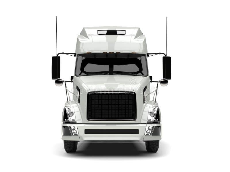 Semi camion de remorque moderne blanc de base - vue de face illustration libre de droits