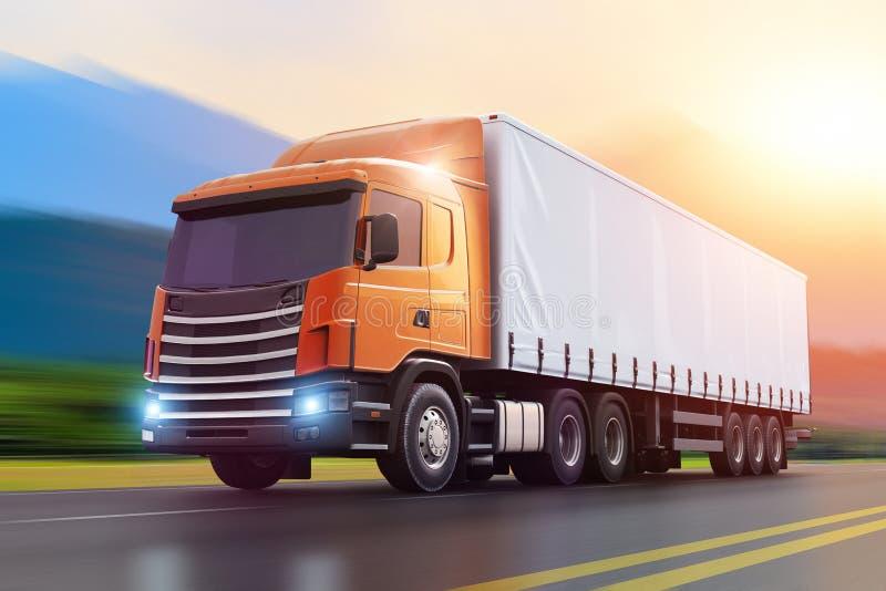Semi-camion sur une route dans le coucher du soleil illustration libre de droits