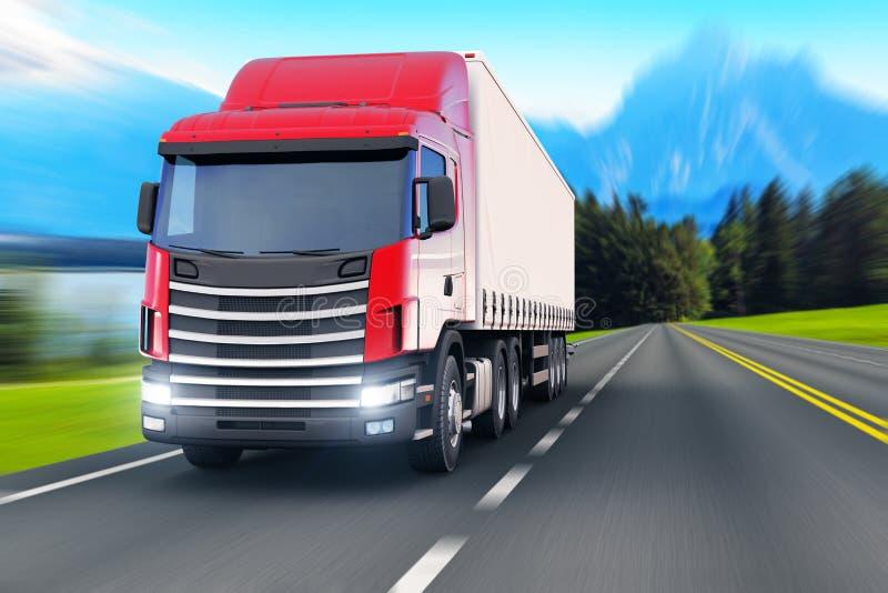 Semi-camion sur une route ou une autoroute illustration de vecteur