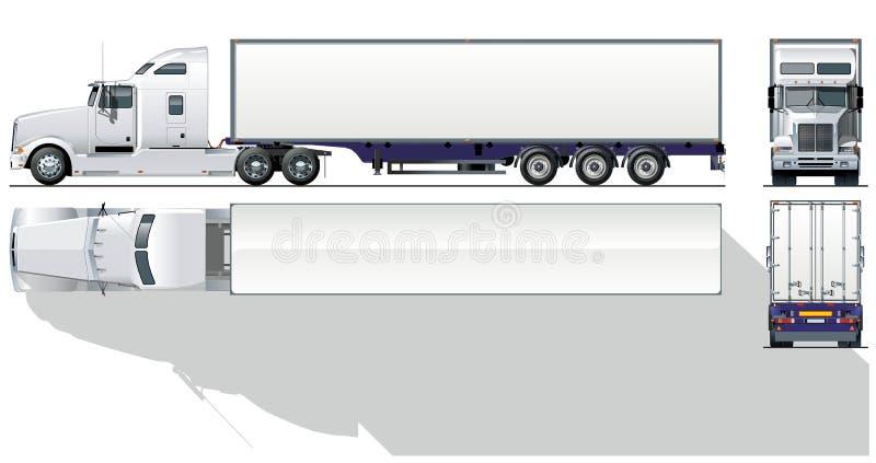 semi-carro comercial Hola-detallado stock de ilustración