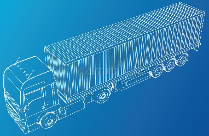 semi-carro comercial Hola-detallado en blanco Gráfico abstracto Alambre-marco Formato EPS10 Vector creado de 3d stock de ilustración