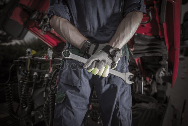 Semi Ciężarowy Pro mechanik fotografia royalty free