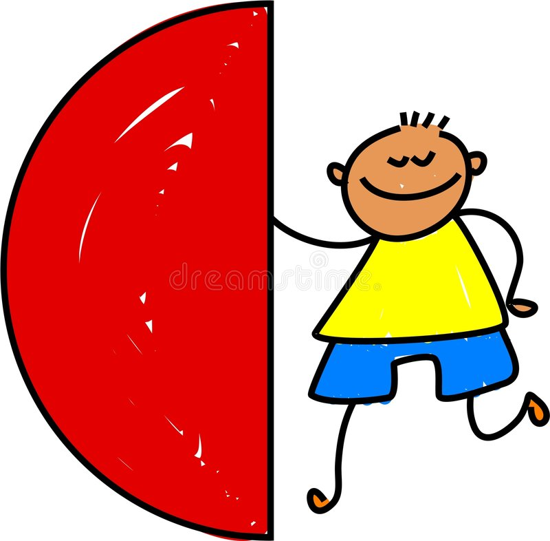 Semi circle kid vector illustration
