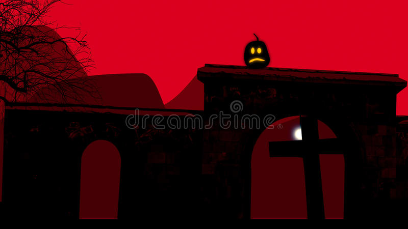 Semi circular arches at a graveyard on Halloween. 3D illustration of two semi circular arches with crosses inside at a graveyard on Halloween at night. The lit stock illustration