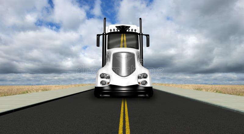 Semi de Vrachtwagenweg van de tractoraanhangwagen vector illustratie
