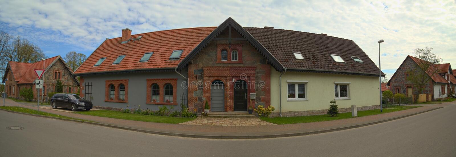 Download Semi Detached House Listed As Monument In Germany Stock Image - Image of blue, brown: 93333139