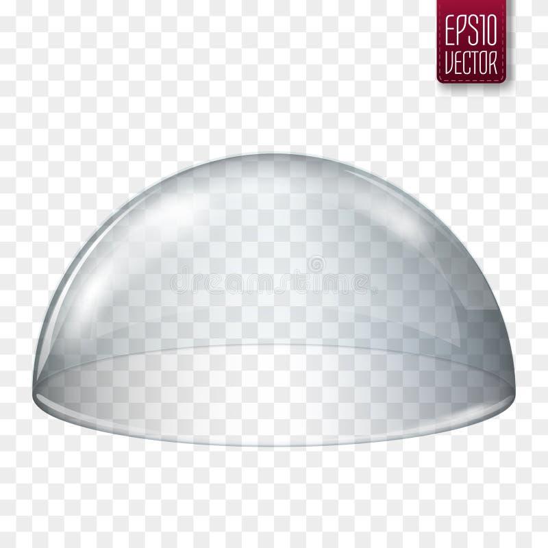Semi-esfera de vidro transparente isolada Ilustração do vetor ilustração stock