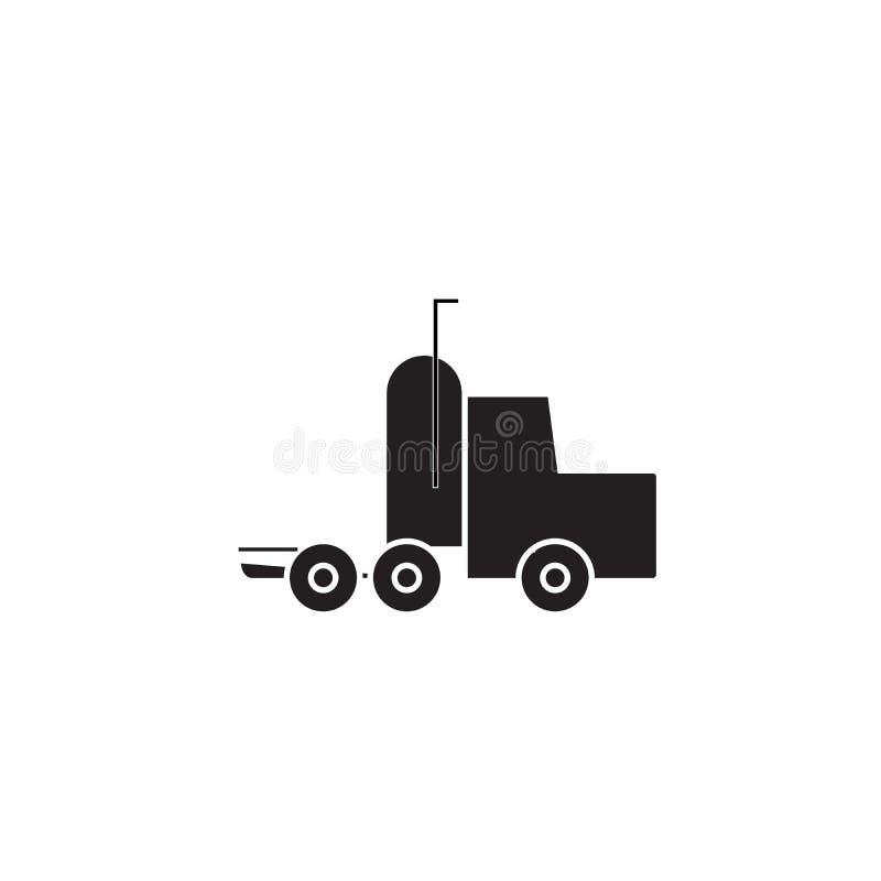 Semi icono del concepto del vector del negro del camión Semi ejemplo plano del camión, muestra ilustración del vector